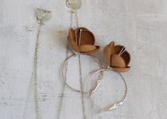 Leather earrings in autumn brown by imali on Etsy, $14.00
