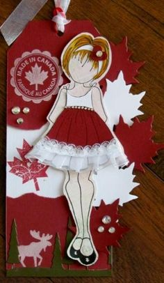 I got my first Prima Dolls last year. I have 11 dolls and decided to start by creating a tag for each month. This is my July/Canada Day Doll Atc Cards, Card Tags, I Card, Gift Tags, Prima Paper Dolls, Prima Doll Stamps, Canada Day, Vintage Crafts, Christmas Tag