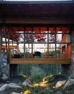 living room suspended over a brook!