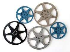 Vintage FILM REELS in Metal Cases  Set of 5 by sushipotvintage, $42.00   Cool idea for movie room decor