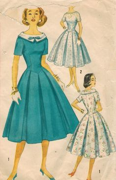 1950s  day or party dress full skirt blue white turquoise prim portrait collar wide bow color illustration pleated short sleeves Simplicity 2413 Vintage Sewing Pattern by midvalecottage, $20.00