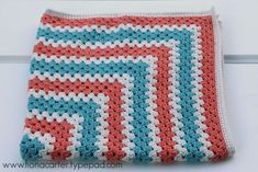 Fiona Carter's peach and teal granny square blanket