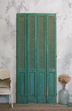 French Antiques, French Country style decor Page 2 Cafe Shutters, Vintage Shutters, Green Shutters, Outdoor Shutters, French Country Style, French Country Decorating, California Shutters, Painting Shutters, Shutter Doors