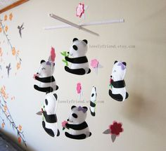 "Baby Crib Mobile - Baby Mobile - Black and White Baby Mobile - ""Six Little Pandas"" theme nursery mobile"