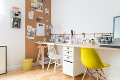 Home Office, Office Desk, Corner Desk, Interior, Room, Furniture, Home Decor, Leaves Wallpaper, Workspaces
