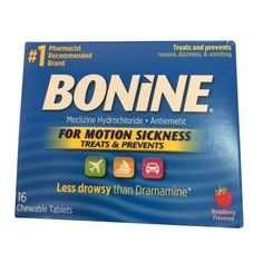 Bonine Motion Sickness Tablets-Raspberry-16 ct. (Pack of ...
