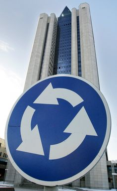 General view of the Russian natural gas monopoly gaint Gazprom headquarters building in Moscow. Open Joint Stock Company Gazprom is the largest extractor of natural gas and one of the largest companies in the world.