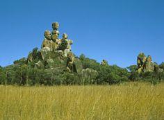 Moeder en kind in het Matopos National Park, Zimbabwe