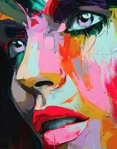 FRANCOISE NIELLY, fauvism use of bright colors, abstract and the not imagined . - - FRANCOISE NIELLY, fauvism use of bright colors, abstract and not mixing the colors. Art Sur Toile, Modern Art Paintings, Oil Paintings, Modern Abstract Art, Happy Paintings, Abstract Faces, Nature Paintings, Arte Pop, Portrait Art