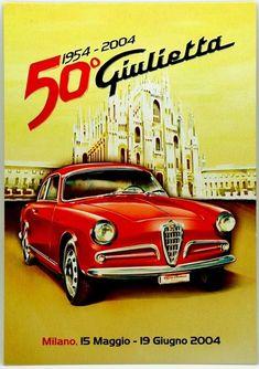 Cartoncino Pubblicitario Auto Alfa Romeo 50° Giulietta 1954-2004