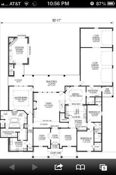 Possible floor plan. Move bedroom 2 & 3 to second floor w/4th bedroom. No two story living room.