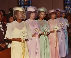 Mid 1960s pastel sheer bridesmaid dresses with veiled hats