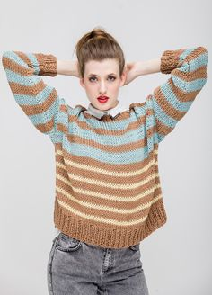 Knitting Kit Cotton Laguna Sweater from We Are Knitters in Light Yellow, Mauve and Salmon Pink