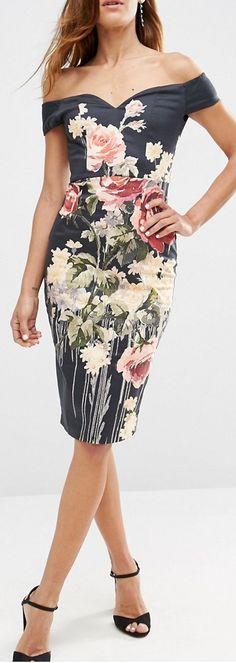 bardot midi pencil dress