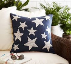 Stars Embroidered Pillow Cover