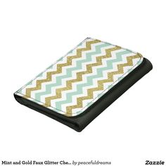 Mint and Gold Faux Glitter Chevron Trifold Wallet Glitter Chevron, New Chic, Wallets, Mint, Gold, Accessories, Peppermint