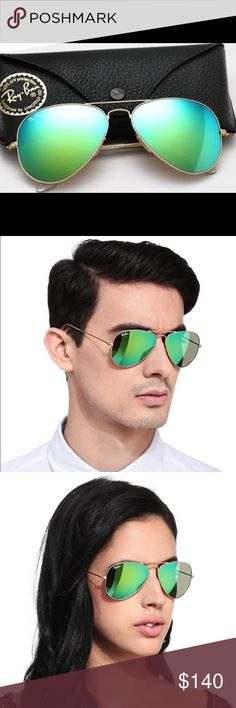 c4a5a712d5ebf Ray Ban model number- Large Aviator - Color Code- - Flash Lens- Eye Size-  Comes with box- case - cleaning cloth and authenticity certificate.