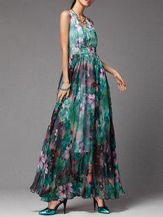 Green V Neck Sleeveless Maxi Dress