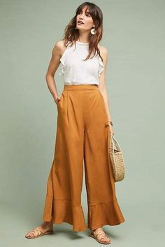 40 Totally Cute Summer Pants Outfits Ideas Trending Fashion Inspirations IdeasTotally Cute Summer Pants Outfits Ideas 3540 Totally Cute Summer Pants Outfits IdeasBy Posted on July Style Board, Outfit Elegantes, Summer Pants Outfits, Wide Leg Pants Outfit Summer, Mustard Pants, Fashion Pants, Fashion Outfits, Dope Fashion, Yellow Pants