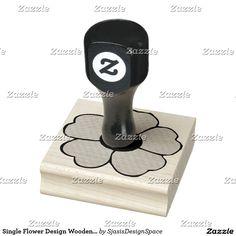 Single Flower Design Wooden Stamp