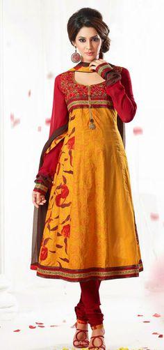 Yellow Cotton Resham Work Anarkali Salwar Suit 27430
