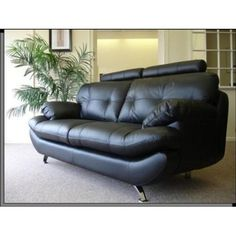 Brand New Sandy 3 2 Seater Sofa Set In Black Faux Leather Living Room Suite