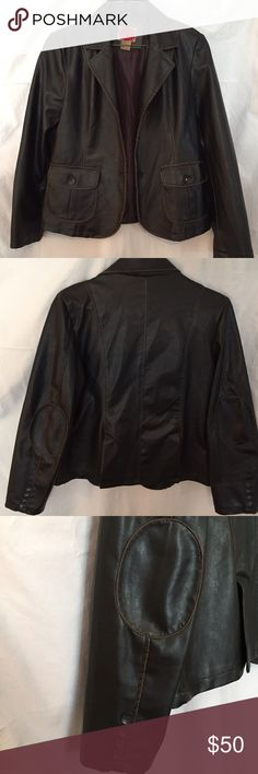 RVT Vegan Leather Jacket. Dark Brown Distressed. Dark Brown Distressed Fitted Vegan leather jacket made by RVT. Size Medium. (The material used to create the exact look of leather is Polyvinyl chloride) Inside is fully lined. Two pockets on outside. Elbow patches and buttons on back sleeve. Brand-new condition. RVT Jackets & Coats Blazers