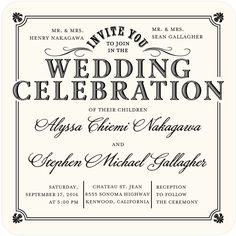 Refined Union - Signature White Wedding Invitations in Pearl or Black | Sarah Hawkins Designs