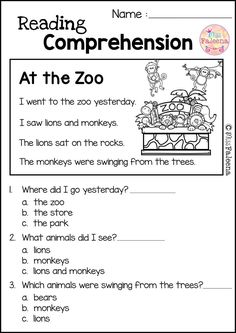 Reading Comprehension Set 2 is great for Kindergarten or first graders. It helps teach children in reading and comprehension. You can use as a class time worksheet or homework. Preschool | Preschool Worksheets | Kindergarten | Kindergarten Worksheets | First Grade | First Grade Worksheets | Reading| Reading Comprehension | Reading Comprehension | Reading Comprehension Literacy Centers | Zoo Reading Comprehension