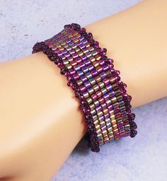 Iridescent Purple Square Stitch Bracelet Copper by TinksTreasure, #hvnyteam #etsy