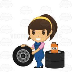 Brunette Mechanic Pushing A Tire #auto #brunette #female #fix #greasemonkey #machinist #maintain #mechanic #oil #oilcan #repair-woman #repairman #skilledworker #specialist #technician #tire #woman