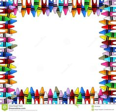 Crayons Multicolored Frame With White Background For Copy Space Border Templates, Frame Template, Borders For Paper, Borders And Frames, Math Border, School Hallway Decorations, Crayon Template, Photo Frames For Kids, Printable Border