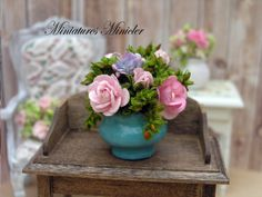 Miniature Dollhouse Roses In The Blue Pot by Minicler on Etsy