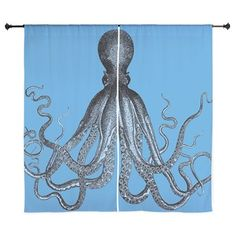 Vintage Octopus in Duo blue tones Curtains