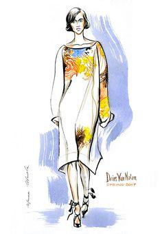 fashion illustration Dries Van Noten SPRING 2017 READY-TO-WEAR by Irina Ivanova. #runway #DriesVanNoten #fashionillustration #illustration #fashionsketch #sketch #fashion #model #figure #365sketches #drawing #ink #watercolor #accessory #fashionshow #shoes #clothes #dress #Couture #fashionweek #fashionillustrator #наброски #мода #artwork #instafashion