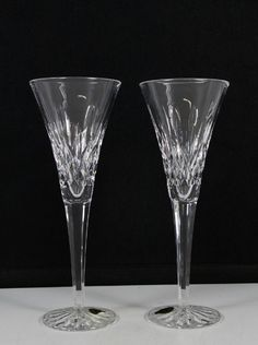 2 Waterford Crystal Lismore Champagne Toasting Wedding Flute Glasses Set #Waterford
