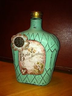 repurposed crown bottle || how to: http://www.junque.biz/1/post/2012/08/vintage-altered-bottles.html