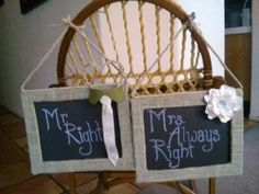 Pair of Bride and Groom Chair Signage Mr. Right & by antipasto, $25.00