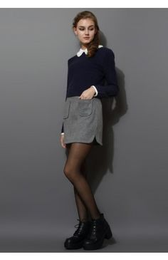 Pearly Peter Pan Collar Top in Navy Blue - Retro, Indie and Unique Fashion