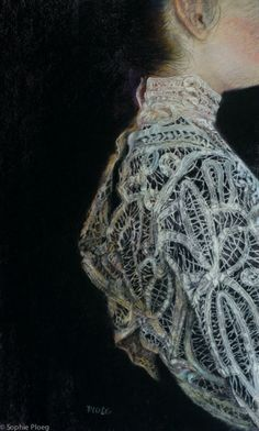 Sophie Ploeg, includes lace in her paintings.