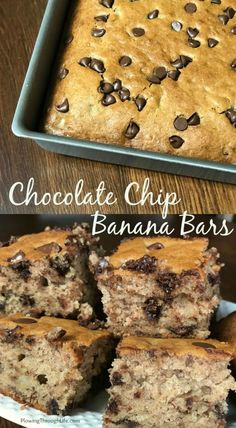 Chocolate Chip Banana Bars {Farmhouse Style} Do you have browning bananas and need a delicious recipe? These chocolate chip banana bars are a favorite on our farmhouse table! We love making the bars thicker and adding plenty of chocolate chips! Banana Dessert Recipes, Köstliche Desserts, Banana Bread Recipes, Desserts With Bananas, Baking With Bananas, Recipes With Bananas, Frozen Banana Recipes, Healthy Desserts, Cake Recipes