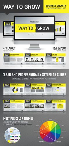 Graphic Website Layout. Resume, Portfolio. WayToGrow PowerPoint Presentation Template