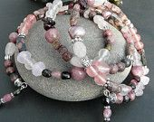 Fabulous Mixed Pink Gemstones Memory Wire Wrap Bracelet Free Worldwide Shipping