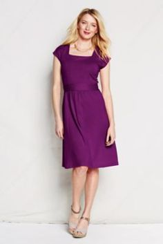 Fits fantastic, but to be work appropriate probably needs a jacket. Women's Short Sleeve Cotton Modal Squareneck Dress from Lands' End Modest Fashion, Fashion Dresses, Big Girl Clothes, Purple Bridesmaid Dresses, Bridesmaids, Straight Cut Jeans, Professional Wardrobe, Dream Dress, Cute Dresses