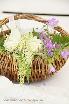 .wicker basketful of flowers