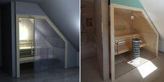 Sauna Glasfront mit Dachschräge