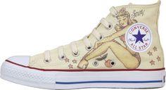 Sailor Jerry Pin Up Girl Converse Sneakers