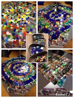 "Mosaic tiles on the mirror box - from Rachel ("",) Reggio Emilia, Learning Centers, Early Learning, Reggio Classroom, Mirror Box, Preschool Art, Sensory Activities, Eyfs, Childhood Education"