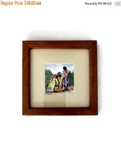 ❘❘❙❙❚❚ ON SALE ❚❚❙❙❘❘     This is an original watercolor from Jamaica. It is of three women gathering oranges and is framed in a simple wooden frame. It is signed with the ... #vintage #etsy #gifts #vougeteam