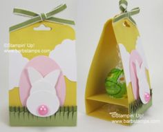 #papercraft #easter #party favors. #tutorial. VIDEO-Truffle Treat using the Scalloped Tag Topper Punch - Stampin IS my job!! Barb Mullikin Stampin Up! Demonstrator